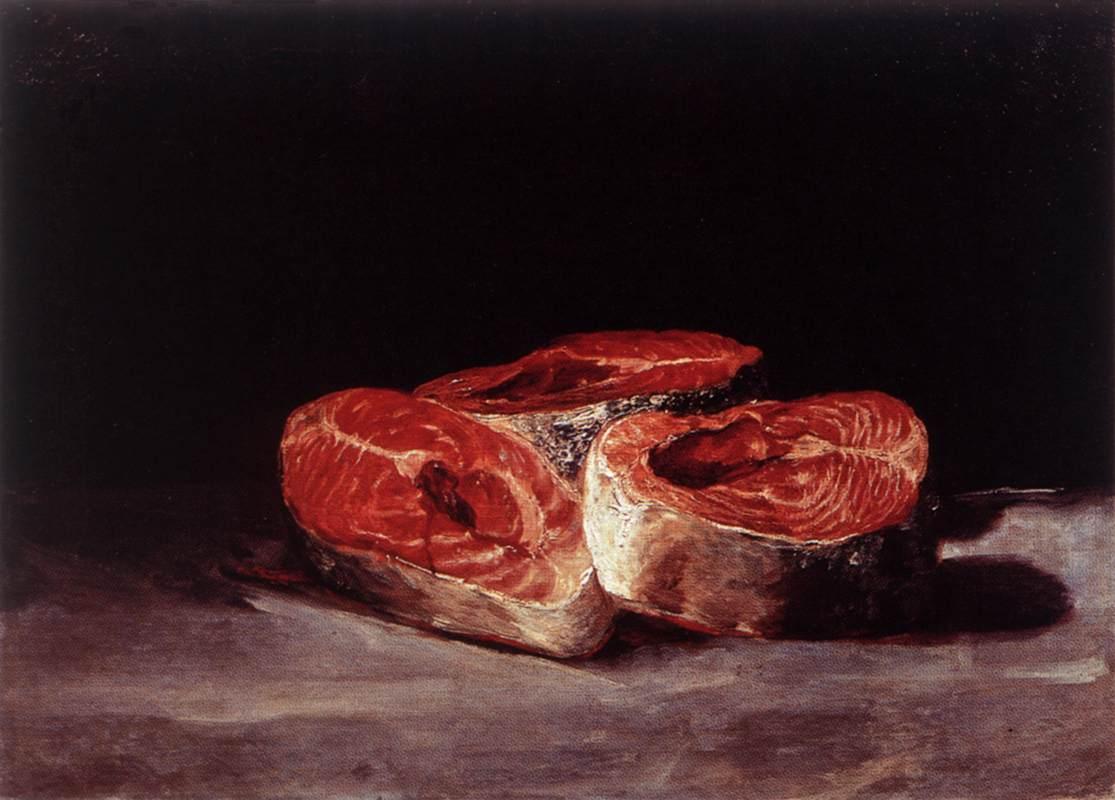 Still Life Three Salmon Steaks - Francisco Goya