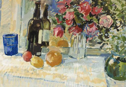 Still Life with a Bottle of Vine - Nikolay Bogdanov-Belsky