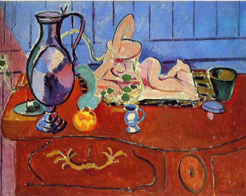 Still Life with a Pewter Jug and Pink Statuette  - Henri Matisse