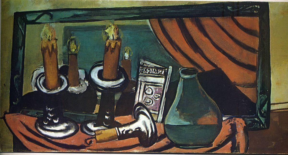 Still life with candles and mirror - Max Beckmann