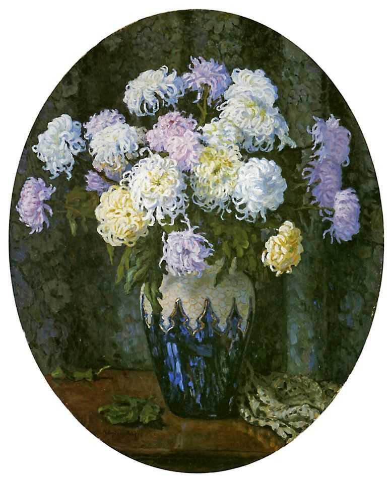 Still Life with Chrysanthemums - Nikolay Bogdanov-Belsky
