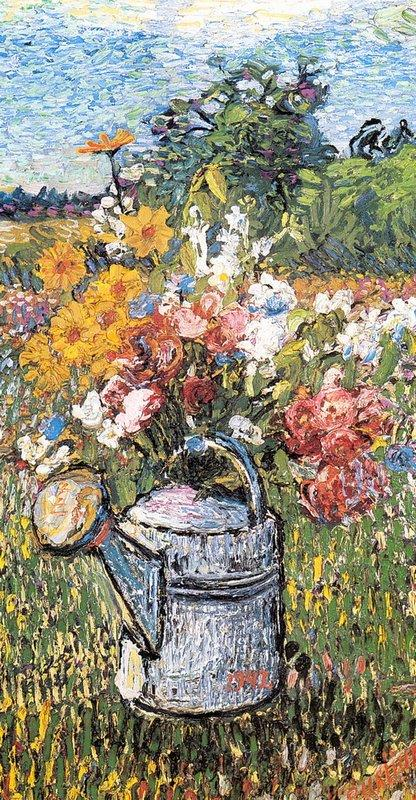 Still life with flowers and watering can - David Burliuk