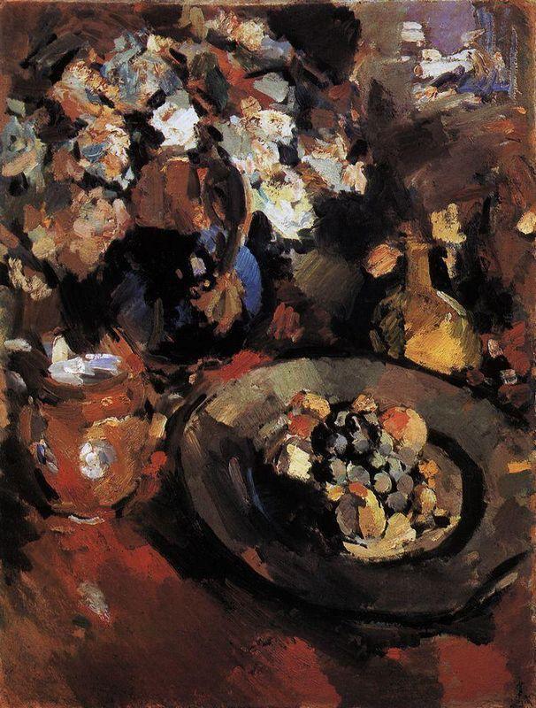Still Life with Fruit and Bottle  - Konstantin Korovin