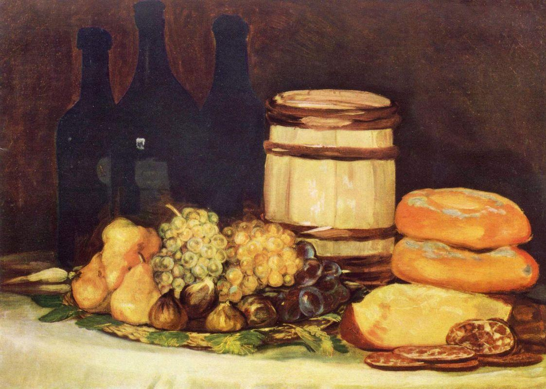 Still life with fruit, bottles, breads - Francisco Goya