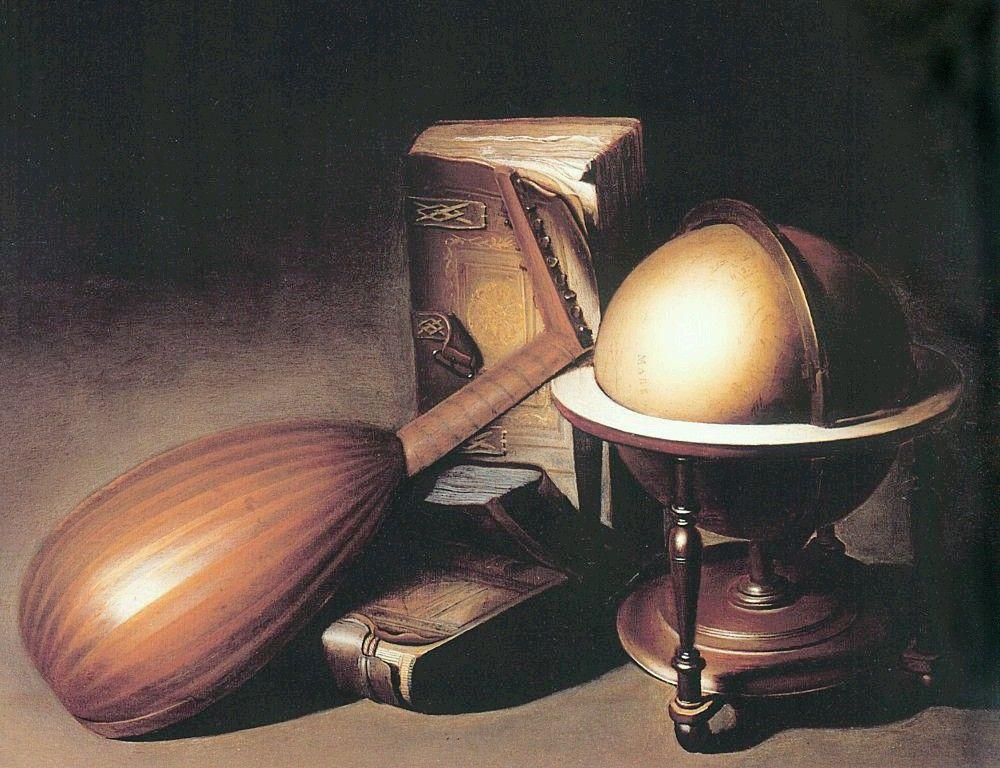 Still Life with Globe, Lute, and Books - Gerrit Dou