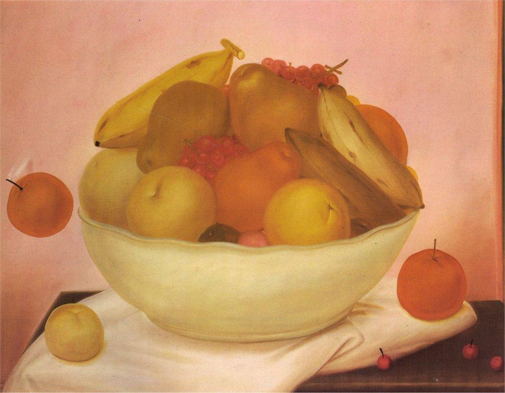 Still Life with Orange Falling - Fernando Botero