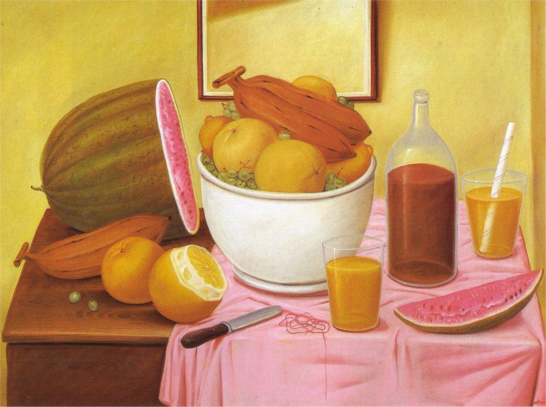 Still Life with Orangeade - Fernando Botero