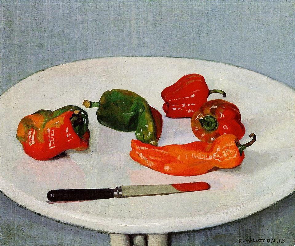 Still Life with Red Peppers on a White Lacquered Table - Felix Vallotton