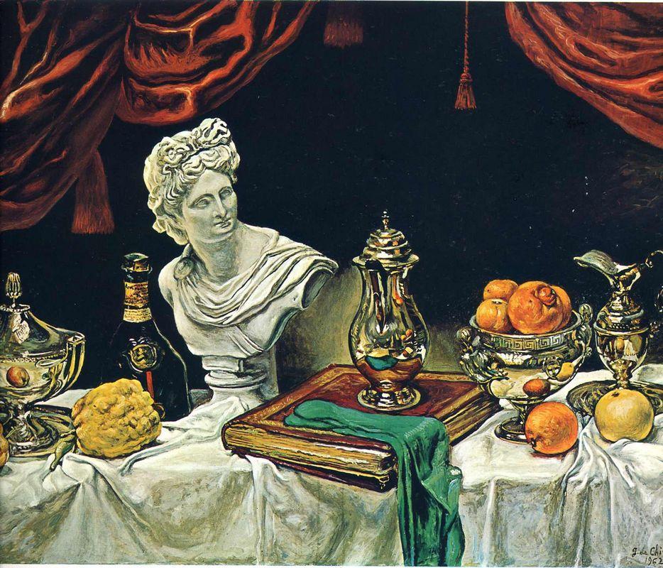 Still Life with Silver Ware - Giorgio de Chirico