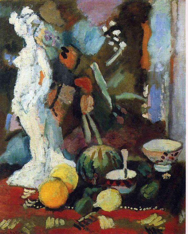 Still Life with Statuette  - Henri Matisse