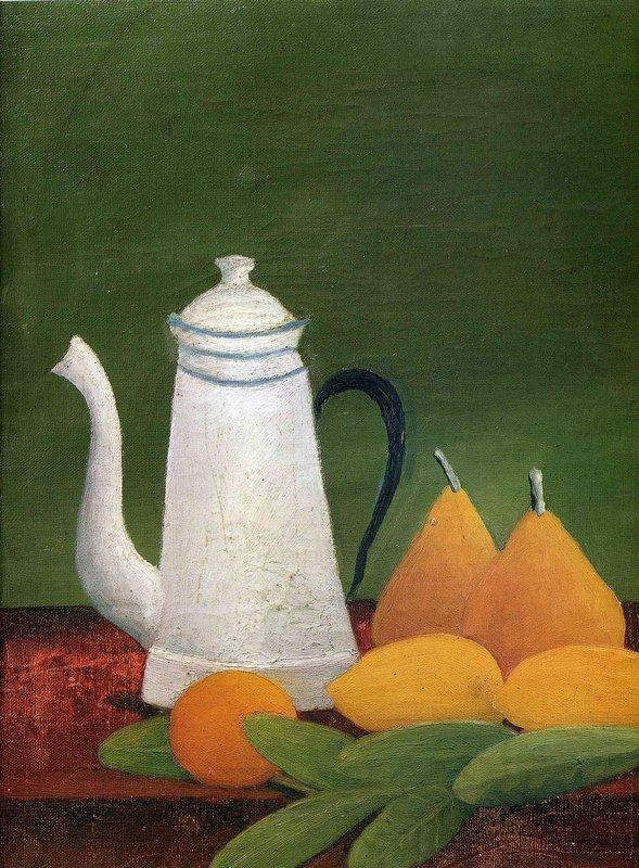 Still life with teapot and fruit - Henri Rousseau