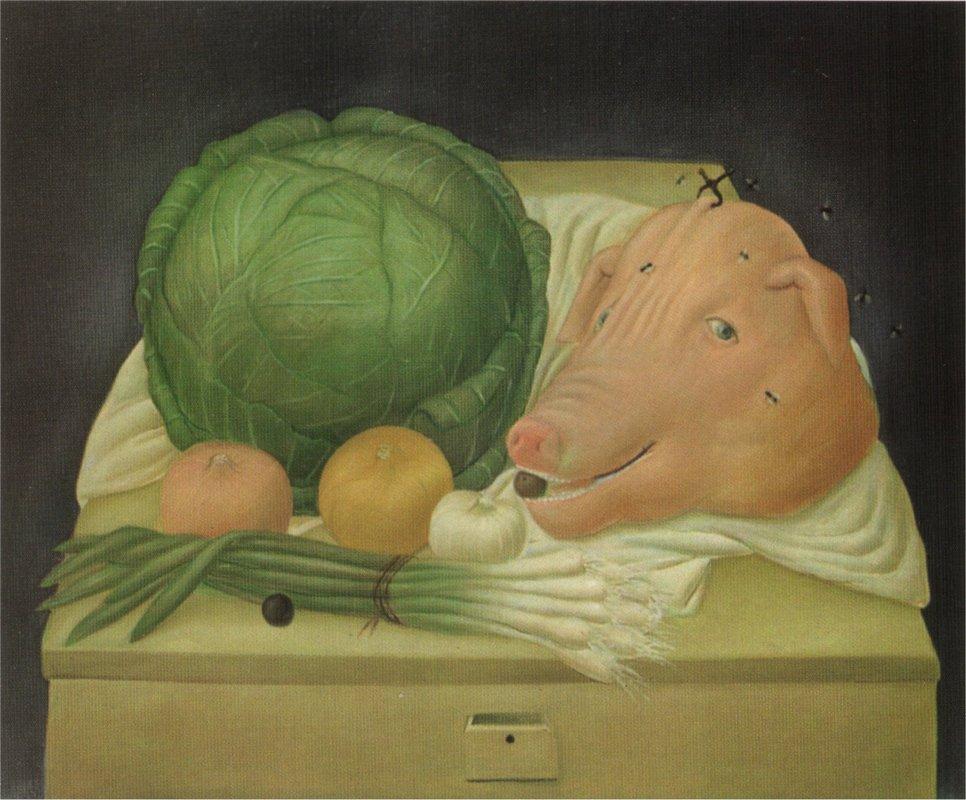 Still Life with the Head of Pork - Fernando Botero
