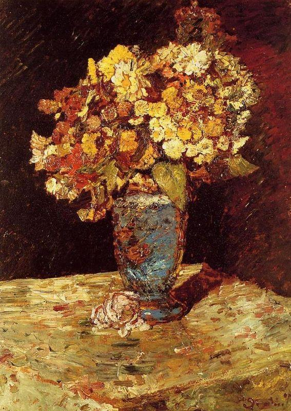 Still Life with Wild and Garden Flowers - Adolphe Joseph Thomas Monticelli