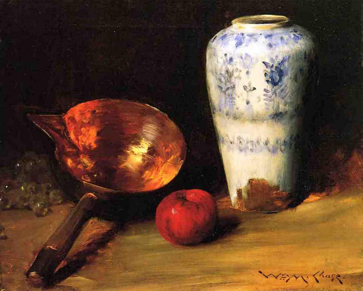 Still Liife with China Vase, Copper Pot, an Apple and a Bunch of Grapes - William Merritt Chase