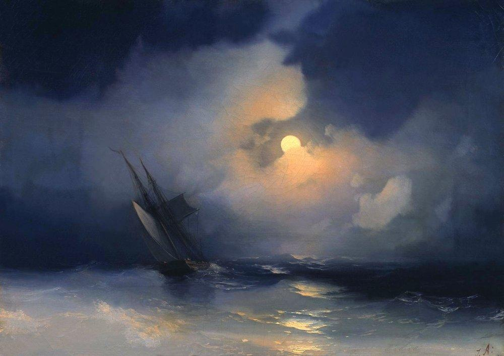 Storm at Sea on a Moonlit Night - Ivan Aivazovsky