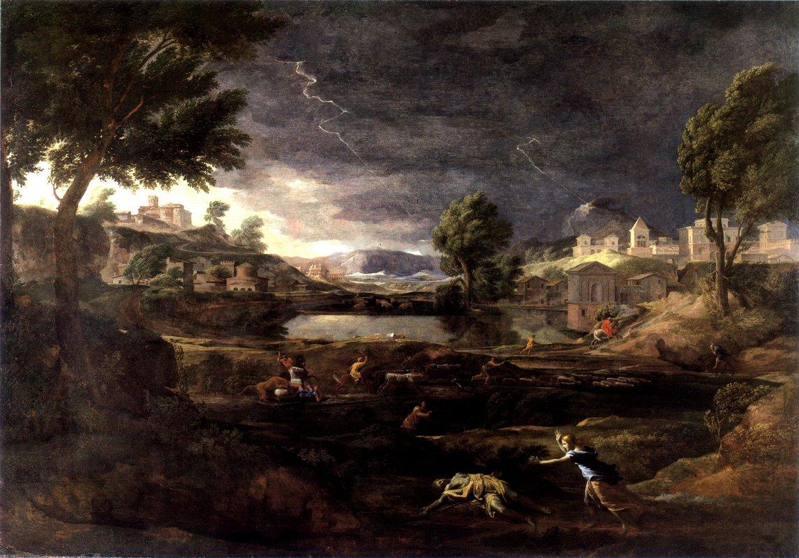 Stormy Landscape with Pyramus and Thisbe - Nicolas Poussin