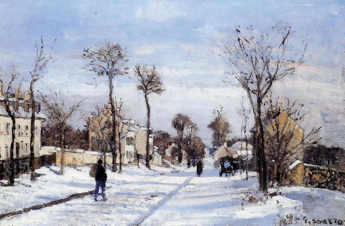 Street in the Snow, Louveciennes - Camille Pissarro