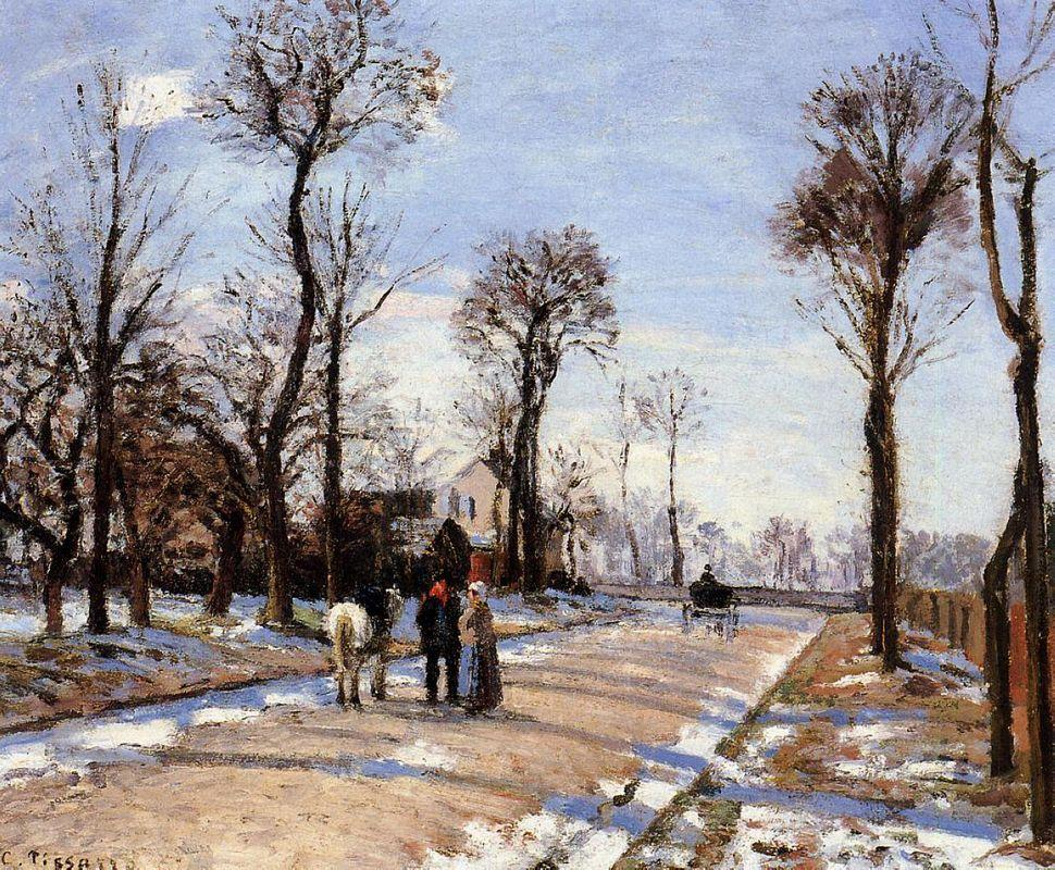 Street Winter Sunlight and Snow - Camille Pissarro
