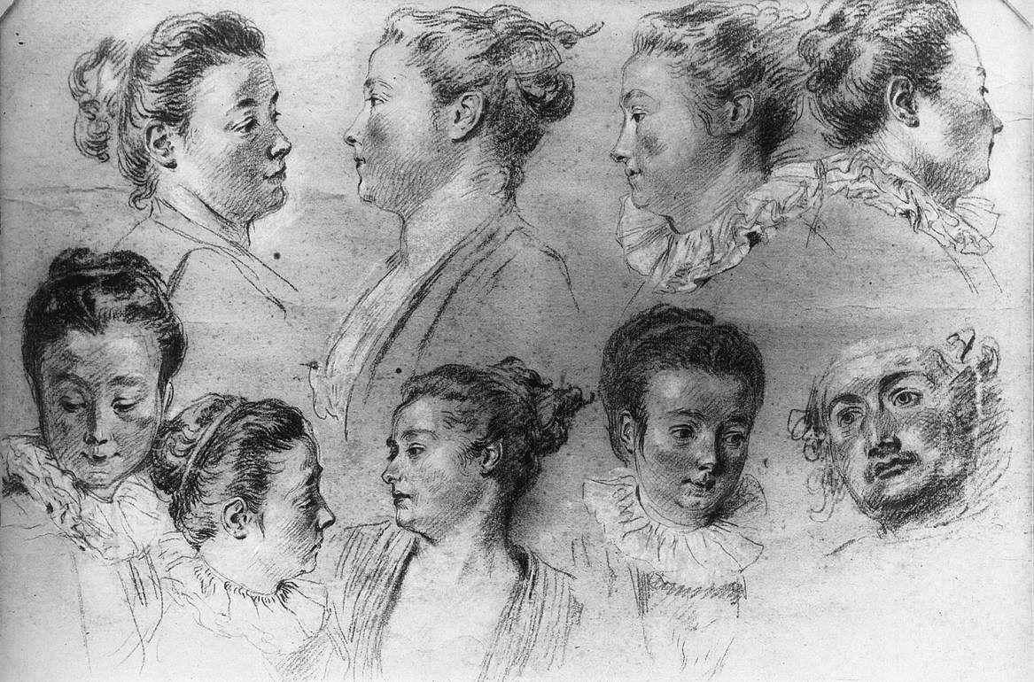 Studies of Women's Heads - Antoine Watteau