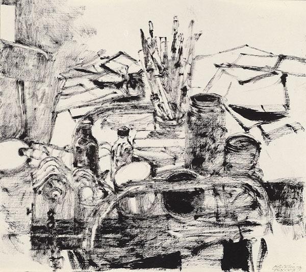 Studio Trolley with Paintbrushes - Avigdor Arikha