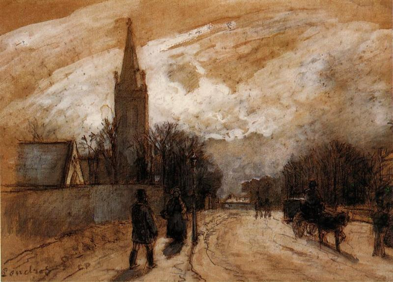 Study for 'All Saints' Church, Upper Norwood' - Camille Pissarro