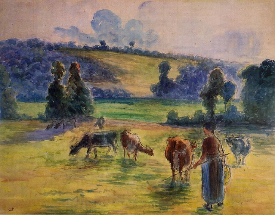 Study for 'Cowherd at Eragny' - Camille Pissarro