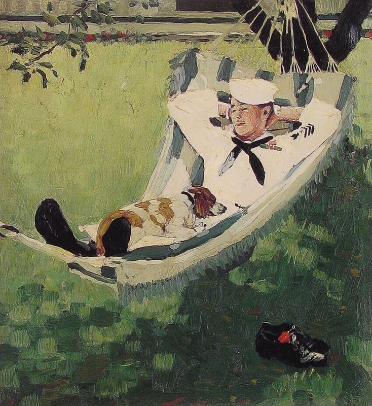 Study for home on Leave - Norman Rockwell