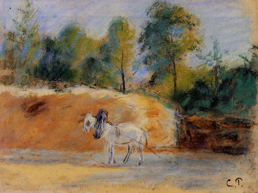 Study for 'La Batterie a Montfoucault' - Camille Pissarro
