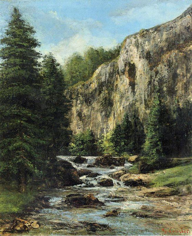 Study for Landscape with Waterfall - Gustave Courbet