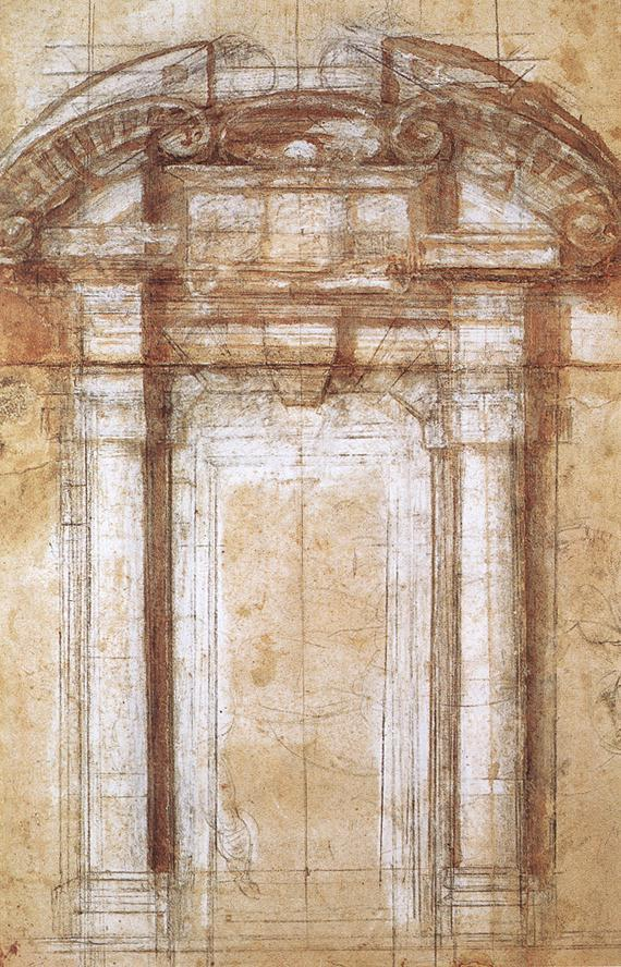 Study for the Porta Pia (a gate in the Aurelian Walls of Rome) - Michelangelo