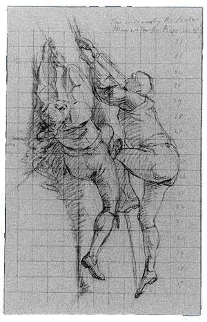 Study for The Siege of Gibraltar, Figures Scaling Floating Battery Cannon - John Singleton Copley