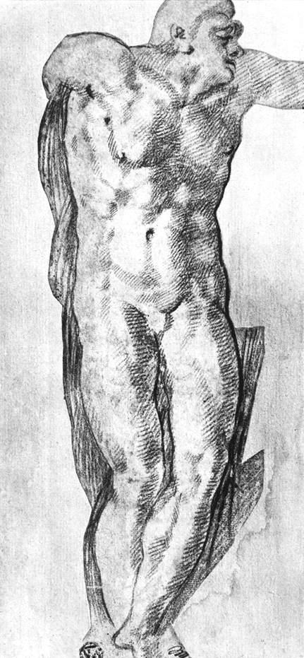 Study of a Nude Man - Michelangelo