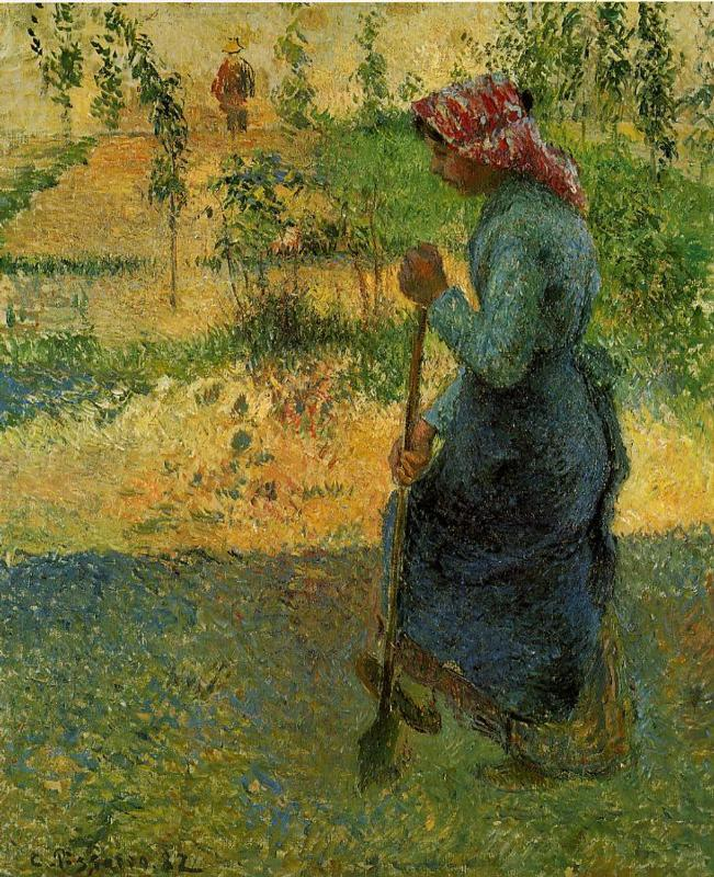 Study of a Peasant in Open Air (also known as Peasant Digging) - Camille Pissarro