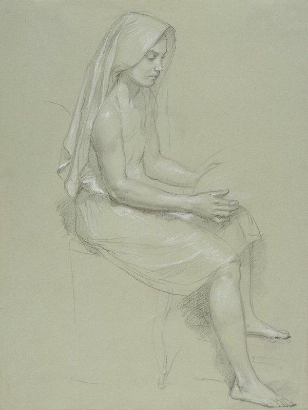 Study of a Seated Veiled Female Figure - William-Adolphe Bouguereau