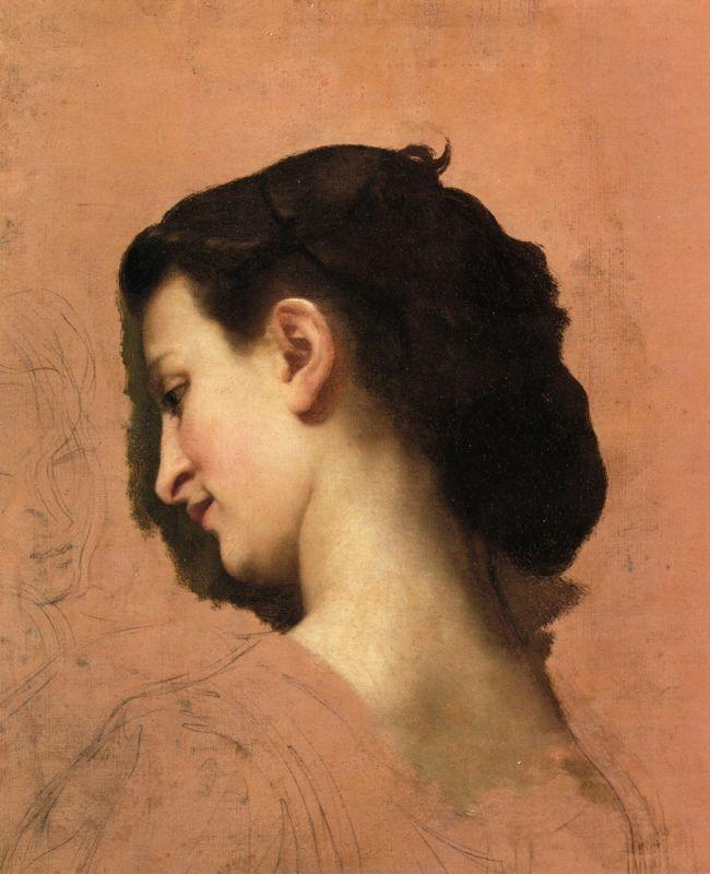 Study of a Young Girl s Head - William-Adolphe Bouguereau
