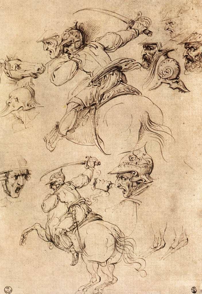 Study of battles on horseback - Leonardo da Vinci