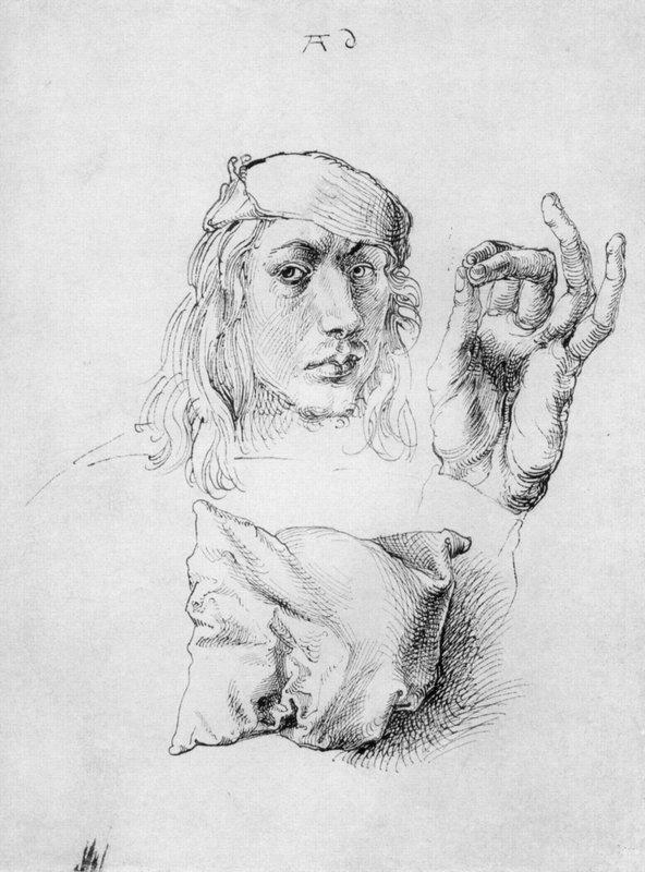 Study sheet with self-portrait, hand, and cushions - Albrecht Durer