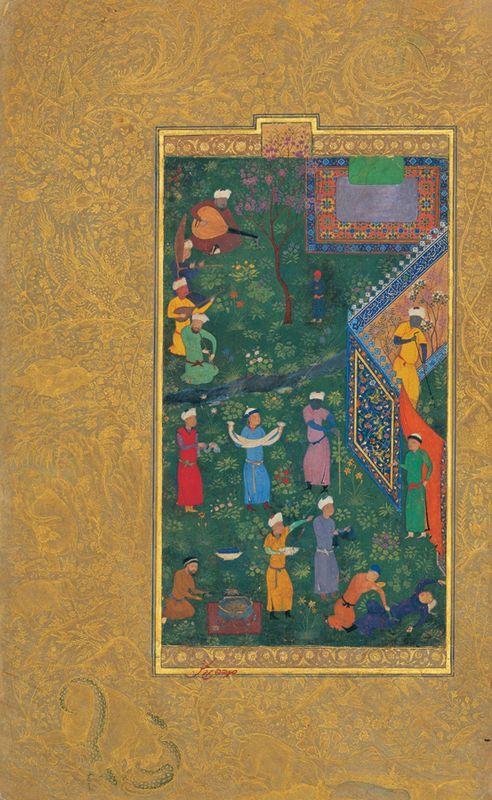 Sultan Hossein Mirza in Promenade (left part) - Kamal ud-Din Behzad