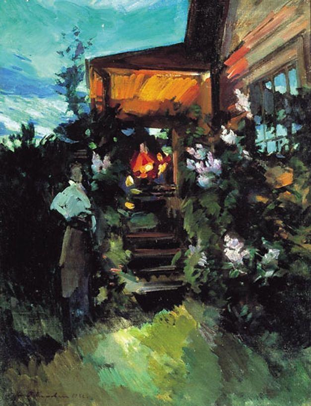 Summer evening on the porch  - Konstantin Korovin