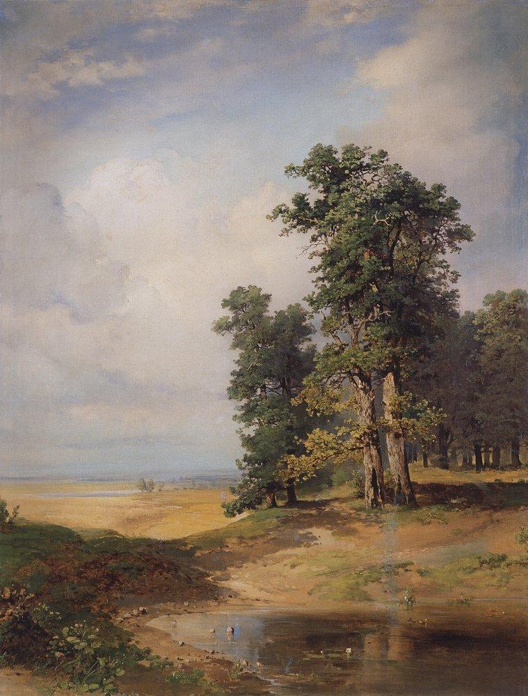Summer landscape with oaks - Aleksey Savrasov