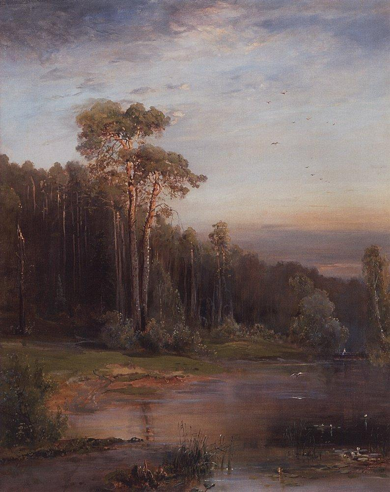 Summer landscape with pine trees near the river - Aleksey Savrasov