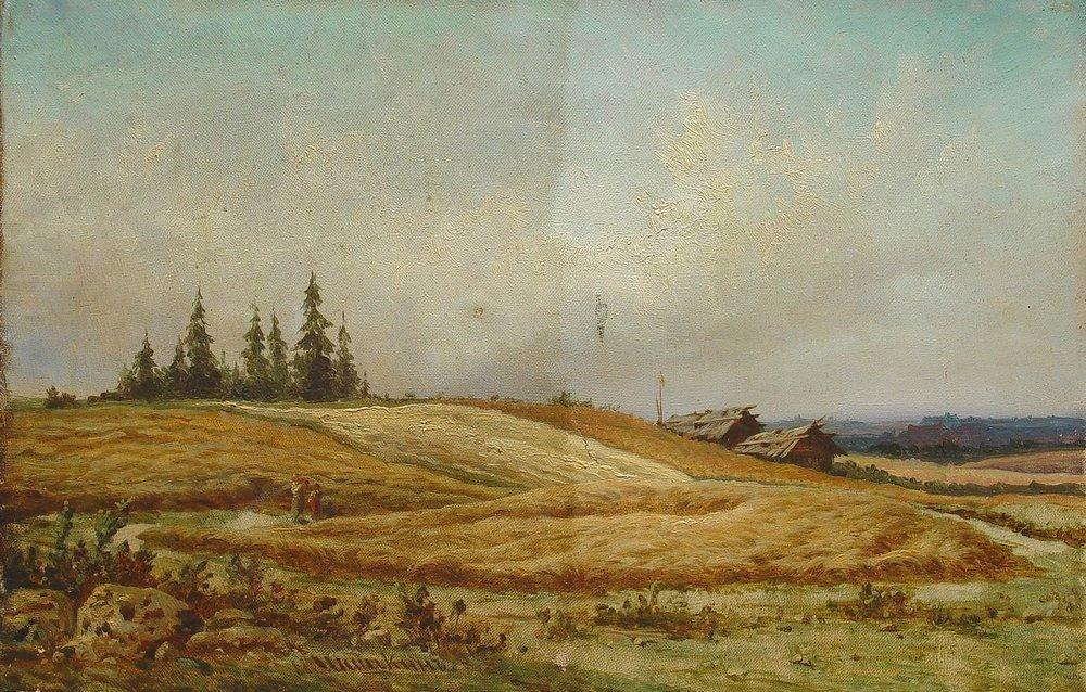 Summer landscape with two houses - Ivan Shishkin