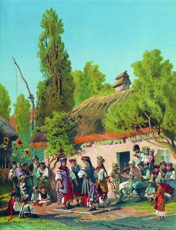 Sunday evening in the village  - Konstantin Makovsky