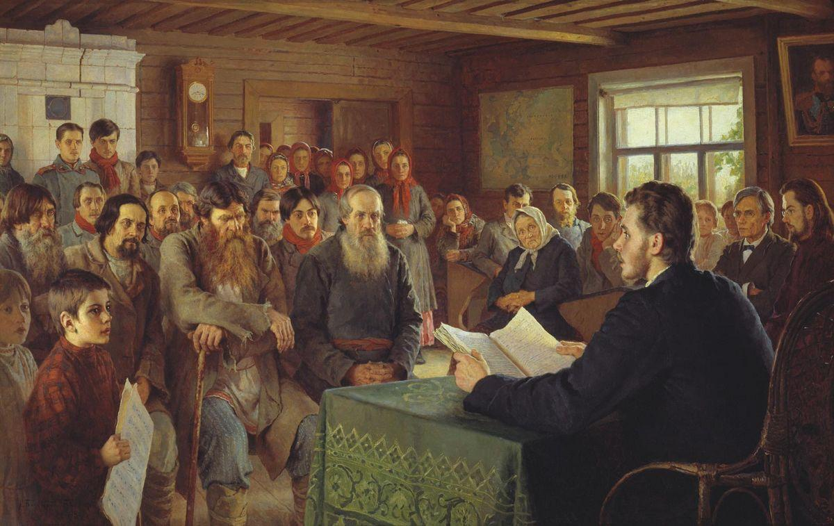 Sunday Reading at Country School - Nikolay Bogdanov-Belsky