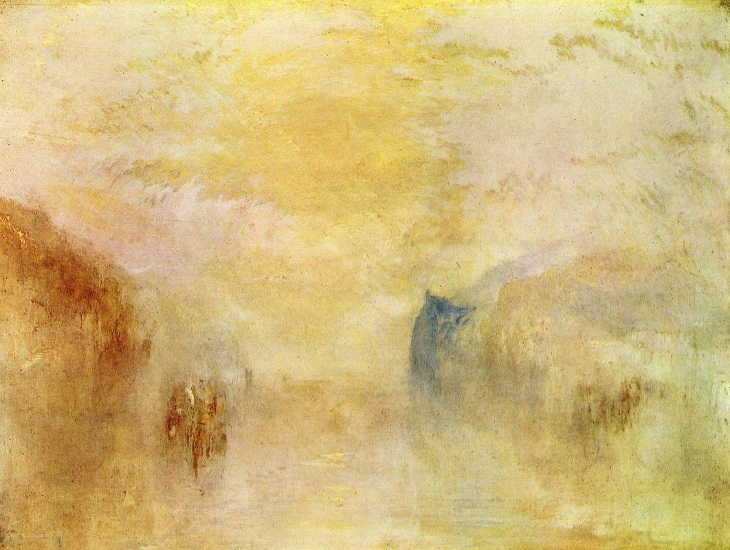 Sunrise, with a Boat between Headlands - William Turner