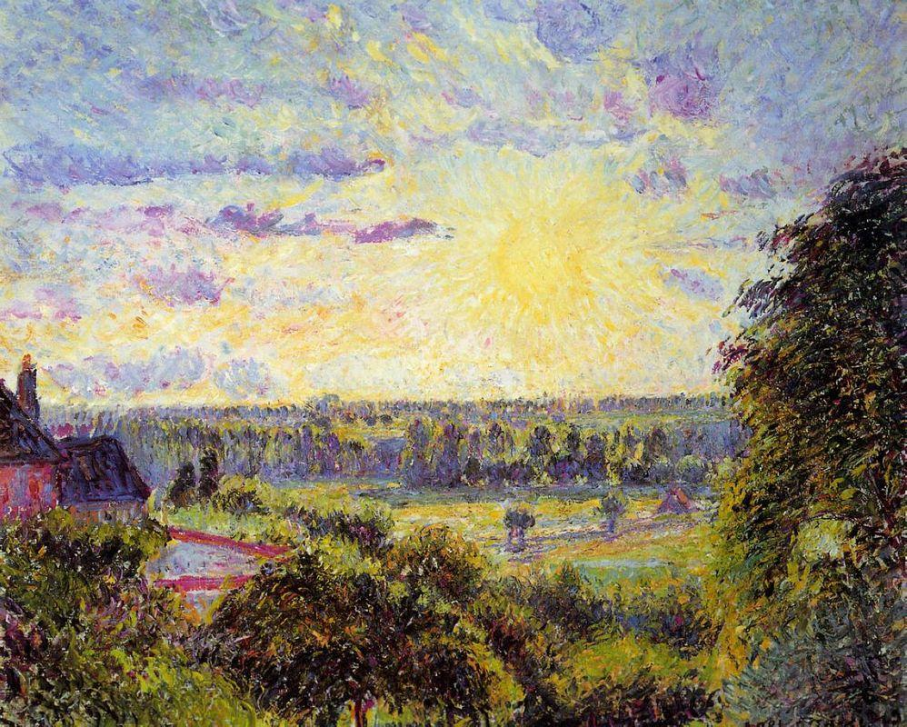 Sunset at Eragny - Camille Pissarro