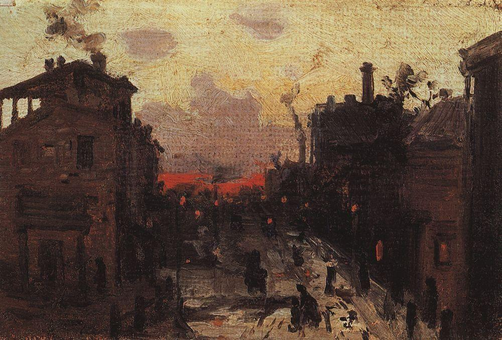 Sunset at the Outskirt of the Town - Konstantin Korovin