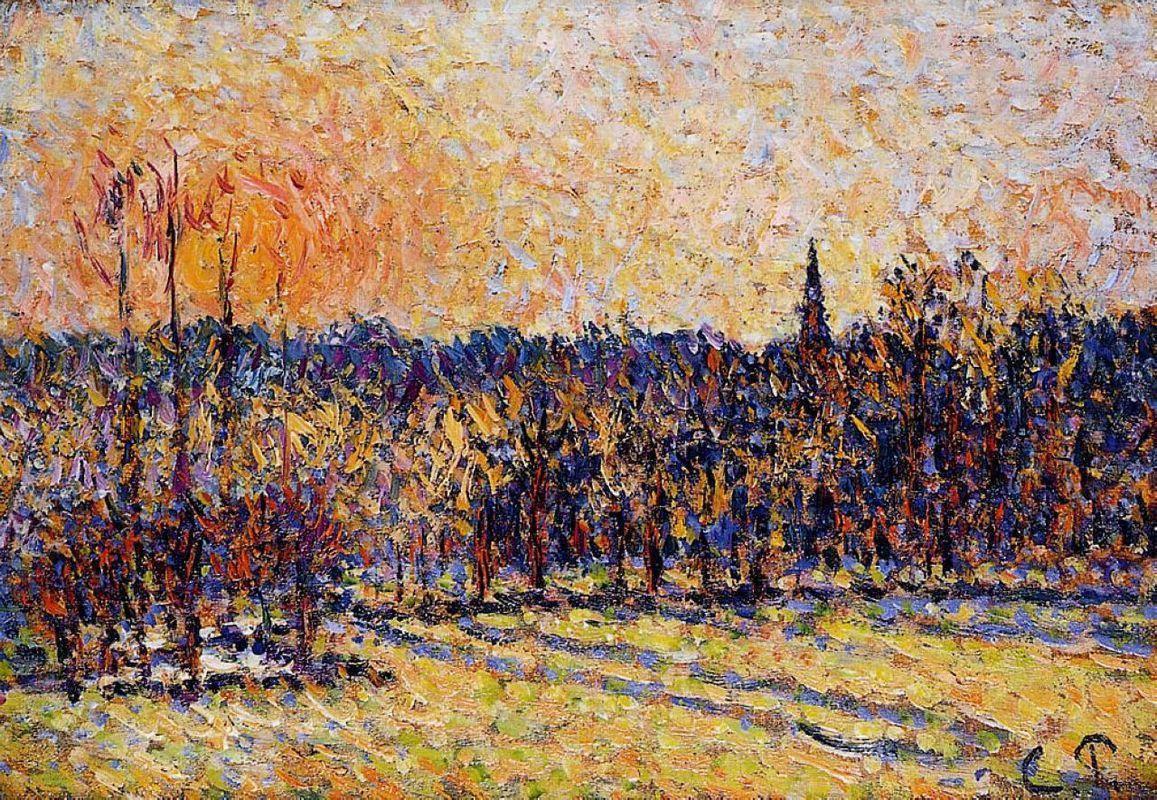 Sunset, Bazincourt Steeple - Camille Pissarro