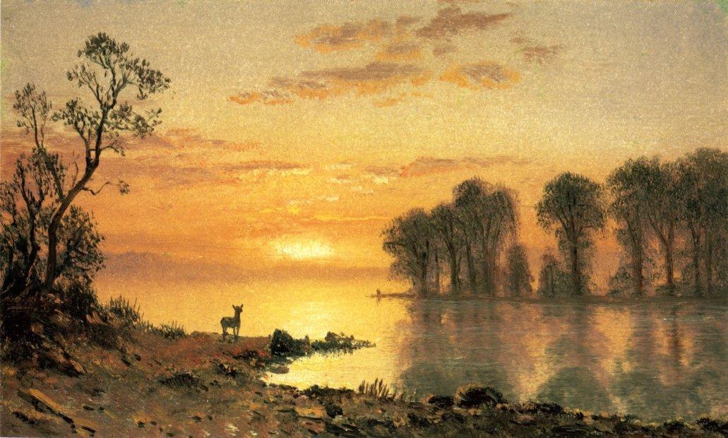 Sunset, Deer, and River - Albert Bierstadt