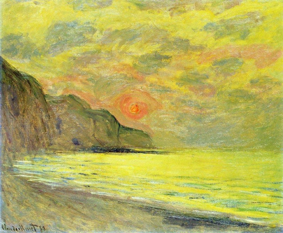 Sunset, Foggy Weather, Pourville - Claude Monet